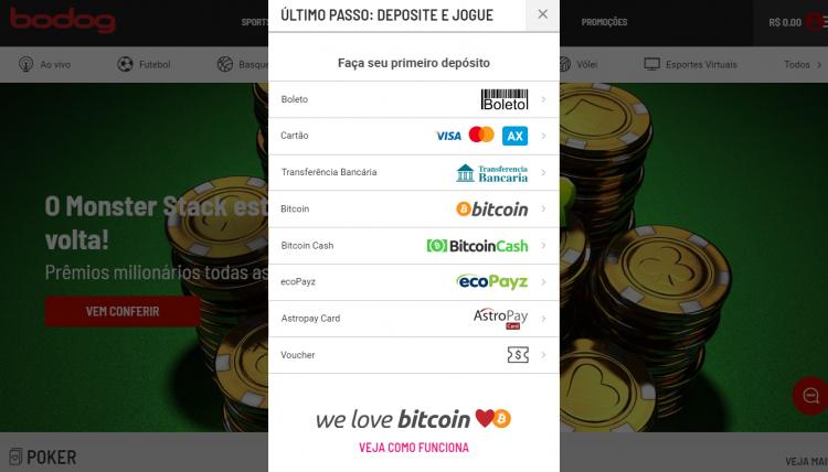 Opção para depositar com Bitcoin