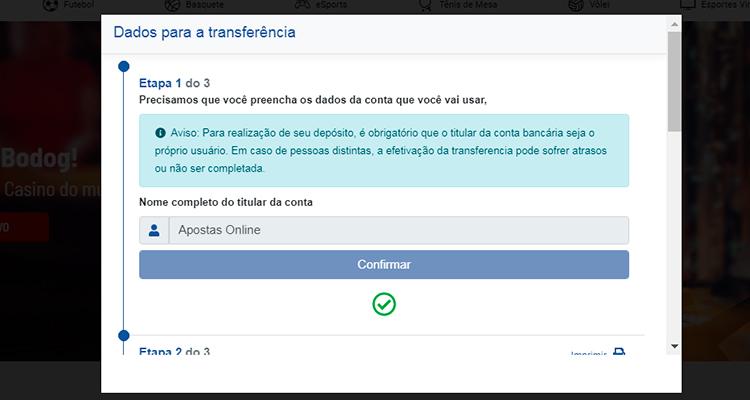Depósito por transferência bancária 4