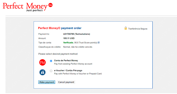 depósito com a Perfect Money 4